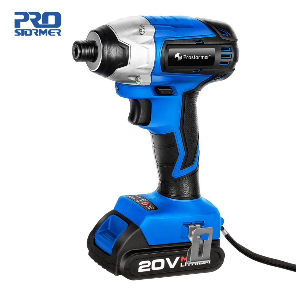 Prostormer 20V Cordless Impact Electric Drill Screwdriver Household Lithium Battery Drill Screwdriver Power Tools Power Package