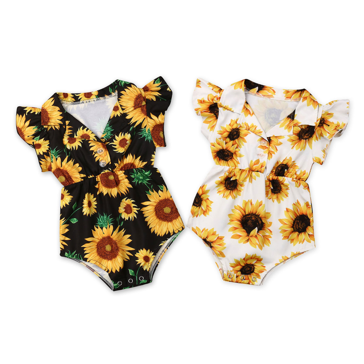 Sunflower Newborn Baby Girl   Rompers   Summer Infant Girl Clothes Ruffles Jumpsuit Playsuit Flower Baby Costumes