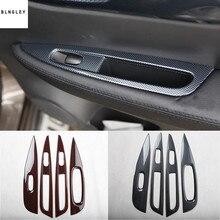 4 pz/lotto ABS grano in fibra di carbonio o del grano di legno della finestra di automobile ascensore decorazione del pannello della copertura per il 2015 2017 Nissan qashqai J11