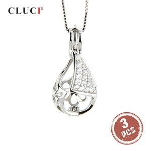 Image 1 - Cluci 3 Pcs Water Drop 925 Sterling Zilveren Kooi Hanger Uitgeholde Kegel Bal Parel Medaillon Ketting Hanger Gift Voor Vrouwen SC064SB