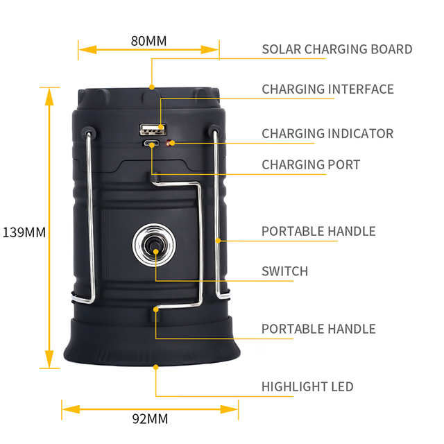 Outdoor Survival Camping Light 18560 Battery Solar Light Waterproof LED Collapsible Portable Lantern For Backpacking Beach Tents 4