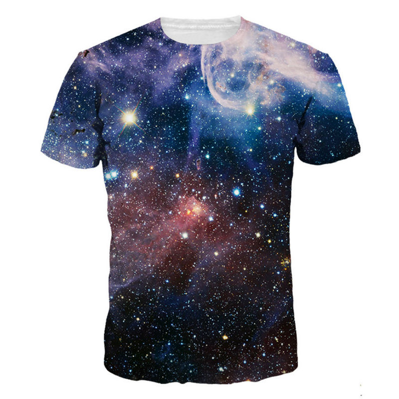 Galaxy space 3d printed t shirts men fashion summer bright for Print photo on shirt