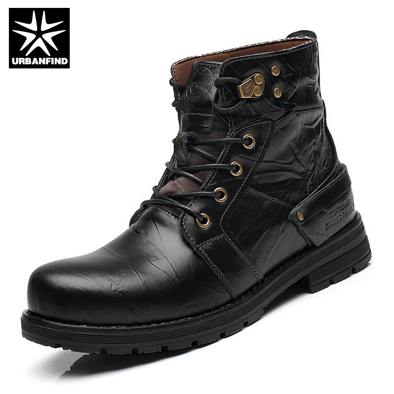 URBANFIND Men Tactical Combat Shoes Leather Martin Boots EU 38-44 New England Men Winter Casual Lace-Up Shoes