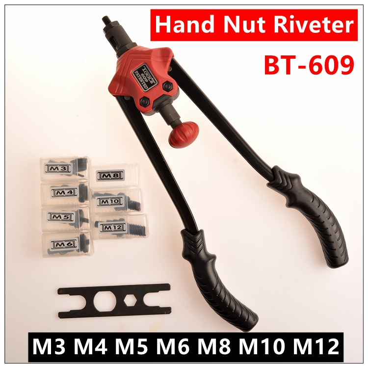 Riveter Gun 14 Blind labour-saving type Rivet Nut Gun Heavy Hand INSER NUT Tool Manual Mandrels M3 M4 M5 M6 M8 M10 M12  BT-609 pop rivet tool riveter gun with 60pcs steel blind rivets repair tools kit heavy duty hand tool set for metal woodworking
