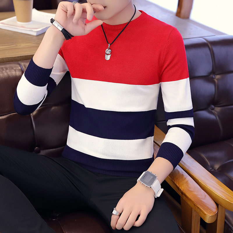 Hot Sale Men's Sweater 2019 Spring Autumn New Students South Korean Slim Youth Striped Sweater Red And Black Two Colors M-XXL