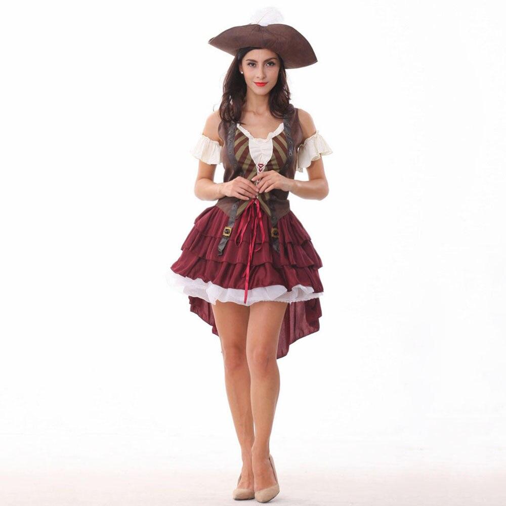 Caribbean Pirate Warrior Costume Women Halloween Pirate Costume Dress Female Fantasias Fantasy Fancy Party Cosplay