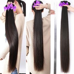Image 2 - RosaBeauty 28 30 32 40 Inch اللون الطبيعي ضفيرة شعر برازيلي 1 3 4 حزم مستقيم 100% ريمي شعر مستعار بشري لحمة صفقات