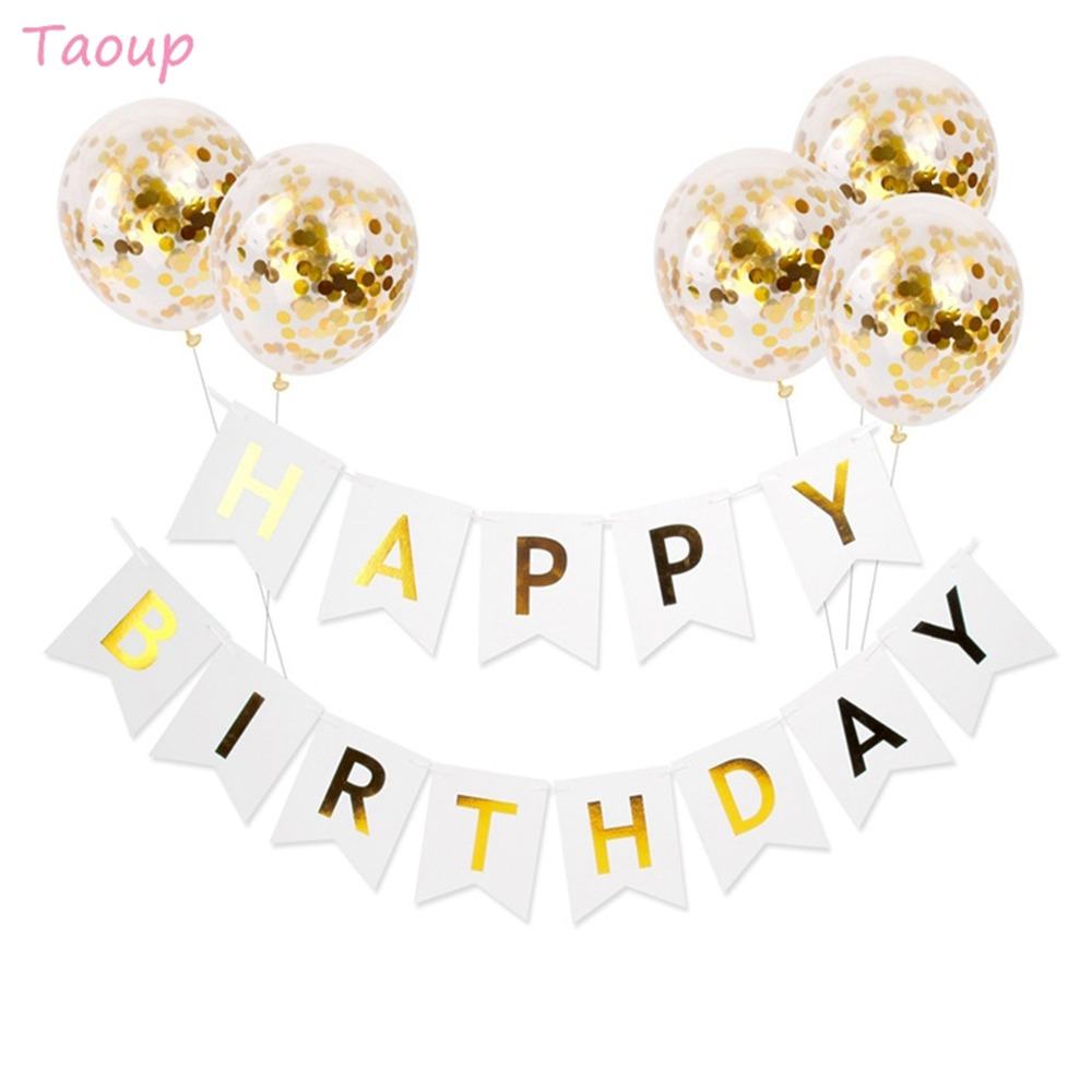 Taoup 1set Paper Happy Birthday Banner Fabric Party Decors Kids Adults Boys Girls Garland Home Hanging Favors