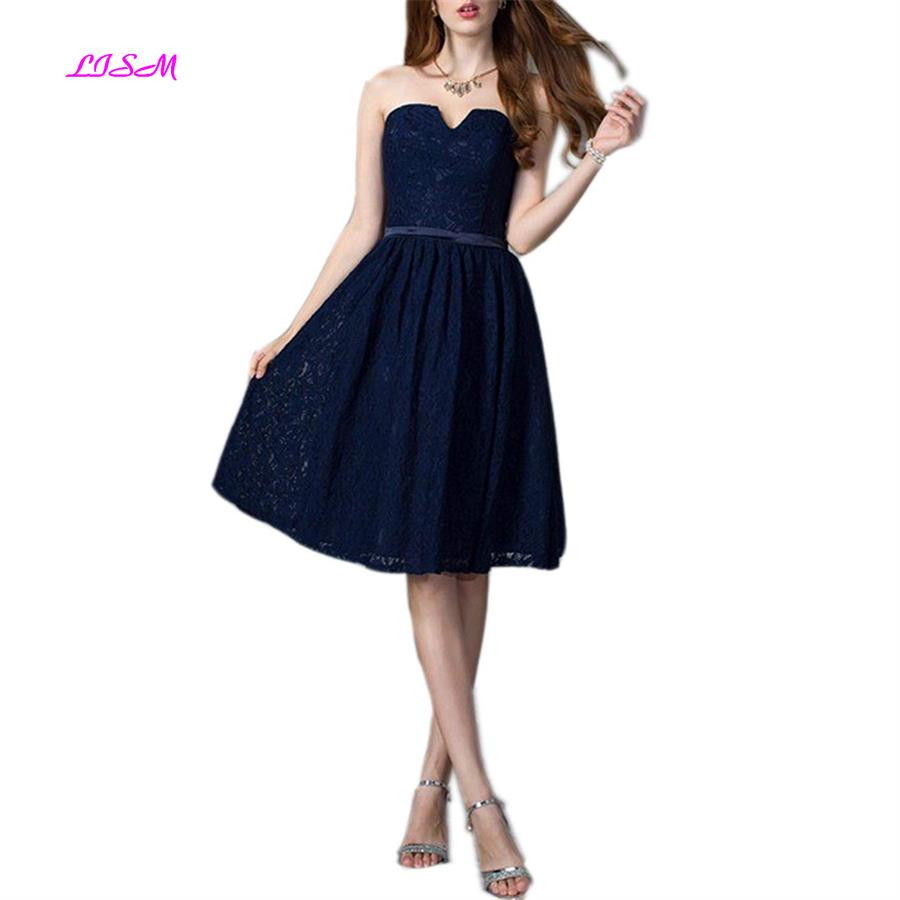 Strapless Knee-Length Cocktail Dress Lace Short Homecoming Dresses A-Line Juniors Party Prom Wear 2019 Vestidos Formales Cortos