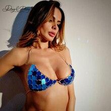 DAVYDAISY Women Sexy Bra Chain Sequin Hot Halter Bralette Female Intimates Sexy Lingerie Crop Top Underwear Erotic Bras BR001