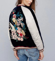 New 2016 Autumn Winter Floral Bird Embroidery Jacket Fashion Women Contrast color Velvet Patchwork Bomber Jacket Coat Sukajan