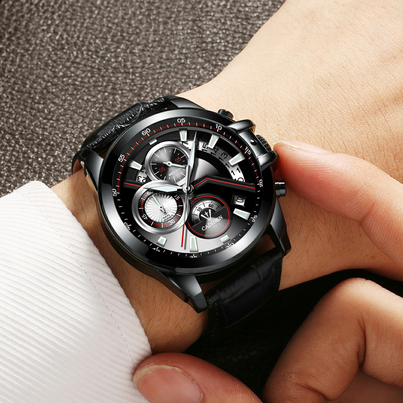 Full Steel Male Relogio Masculino CADISEN Brand Military Sport Watch Men Fashion Watches Men's Wristwatch Army Quartz Clock Men brand amuda fashion digital watch men led full steel gold mens sports quartz watch military army male watches relogio masculino