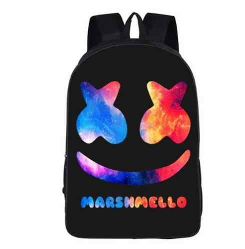 DJ Marshmello Guy школьная сумка для подростков мальчиков и девочек детский персональный школьный рюкзак Зефир лицо улыбка хип-хоп веселый рюкзак