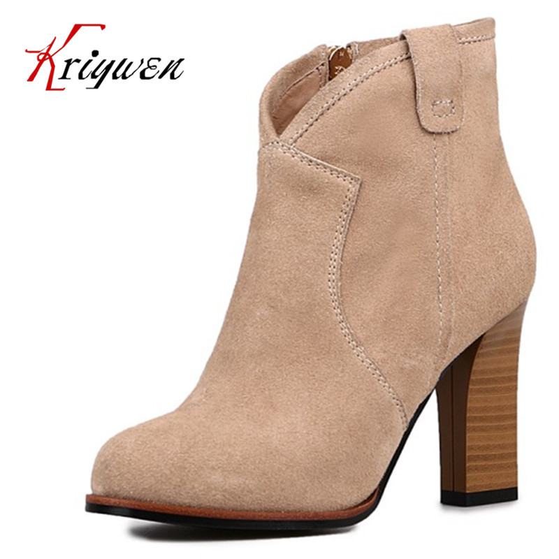 ФОТО Big size 33-40 Cow suede women fashion boots nubuck leather thick high heels dress shoes zipper femmes botas lady ankle boots