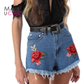 MAKEUCHIC Apparel Azul Cortos Mujeres Sexy Rose Bordado Pantalones Casuales Para Damas Streetwear Bolsillos Ladies Shorts