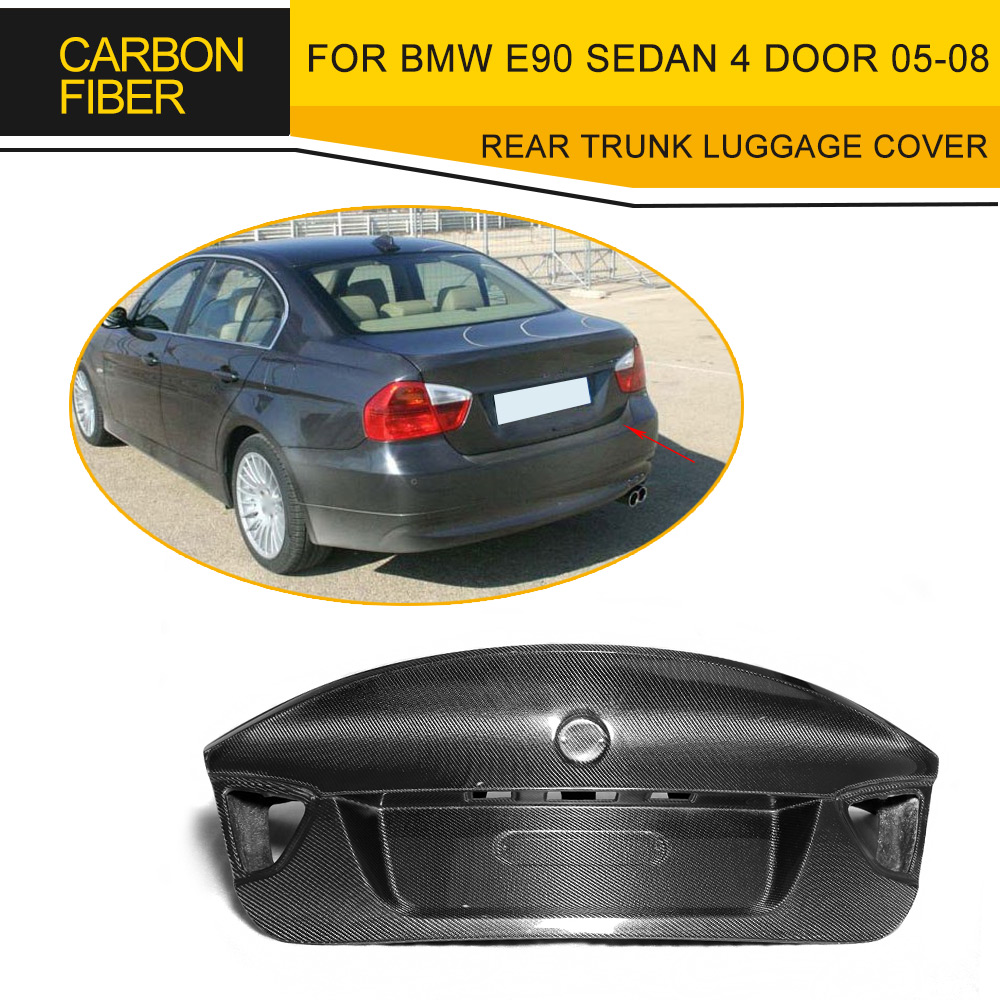 3 Series Carbon Fiber Rear Trunk Luggage Cover For BMW E90 Sedan 4 Door 05-08 Standard M Sport M3 320i 323i 325i 330i L Style 3 series carbon front bumper racing grill grills for bmw f30 f31 standard sport 12 16 320i 325i 330i 340i non m3 style car cover