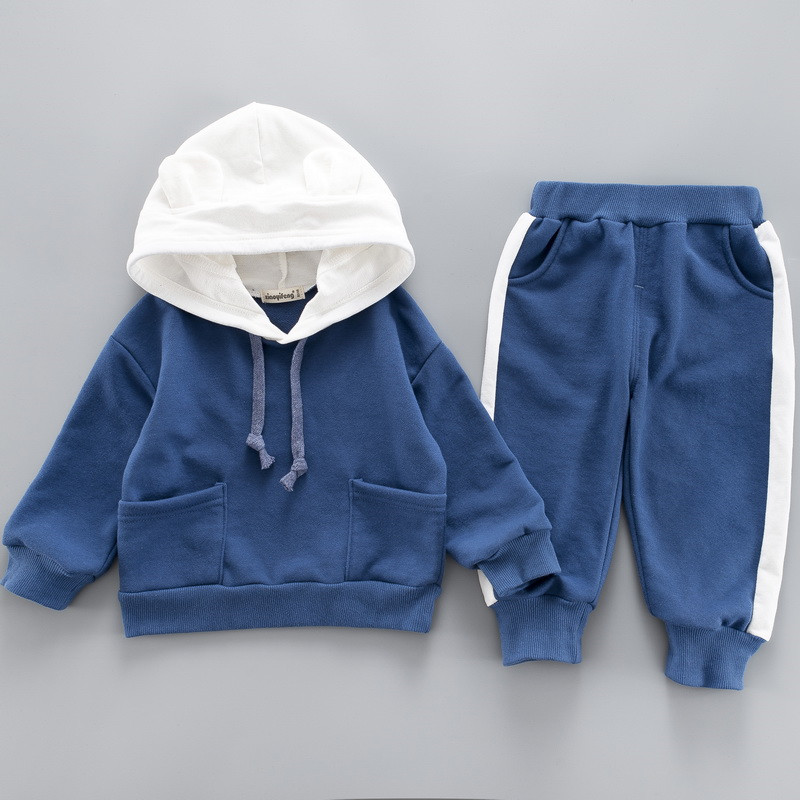 0-4 years High quality boy girl clothing set 19 new spring sport active solid kid suit children baby clothing Hoodies+pant 6