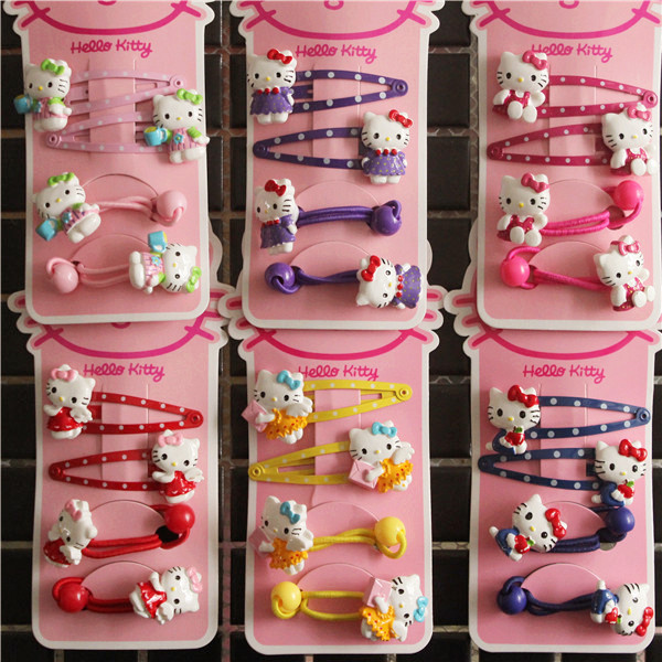 Fashion Children Headwear Elegant Hello Kitty Hair Clips Gum Elastic Bands Hair Accessories Barrettes Scrunchies For Baby magic elacstic hair bands big rose decor elastic hairbands hair clips headwear barrette bowknot for women girls accessories