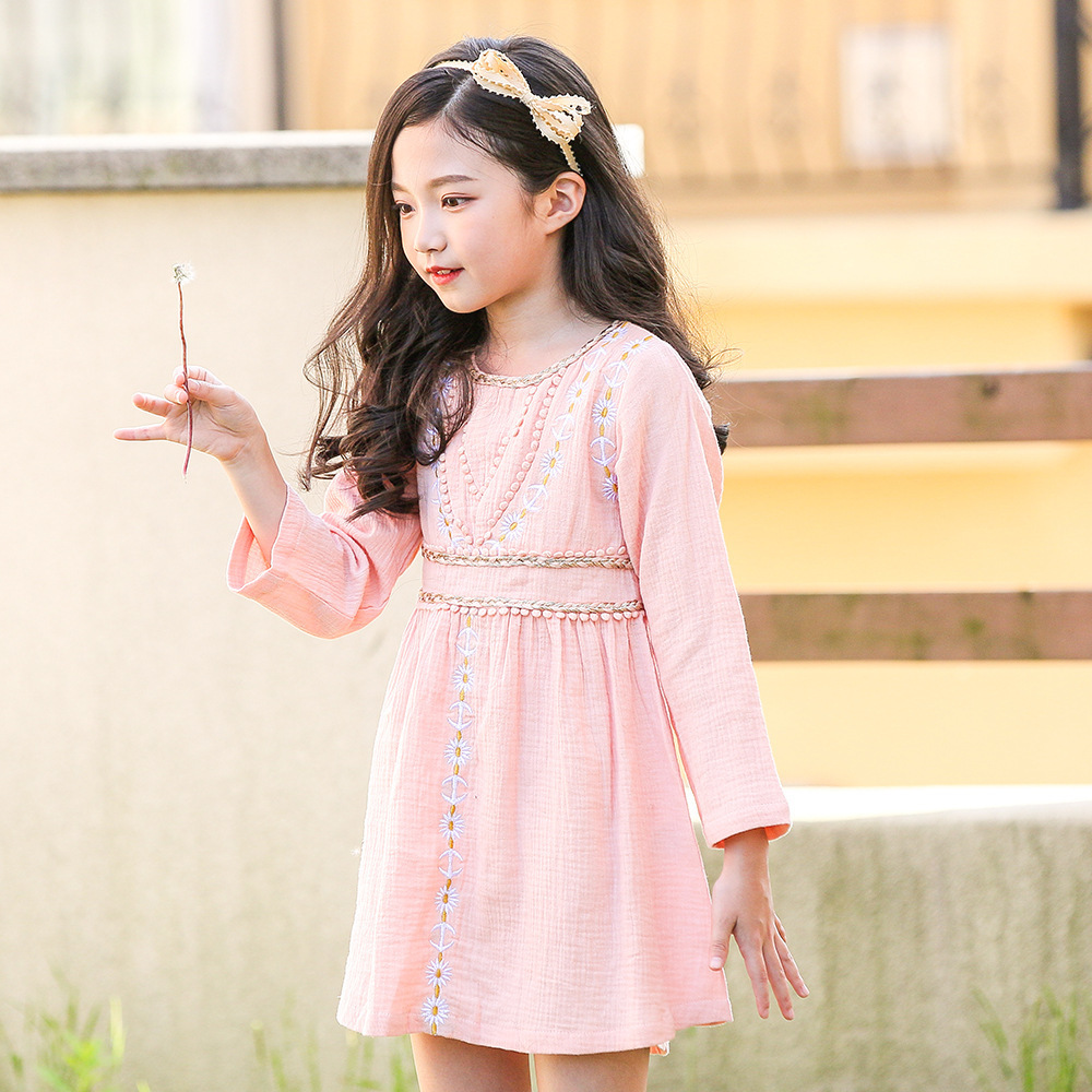 Floral Teenage New Fashion Long Sleeve Pink Dress Kids Cotton Linen Embroidery Toddler Girls Dress 2018 Autumn 8 10 12 14 Years