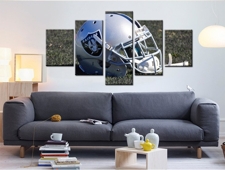 OAKLAND RAIDERS HELMET- HQ 5-PIECE ART CANVAS PRINT