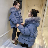 2018 family matching mother daughter long coat kids family costumes little girls clothing with big fur collar hat