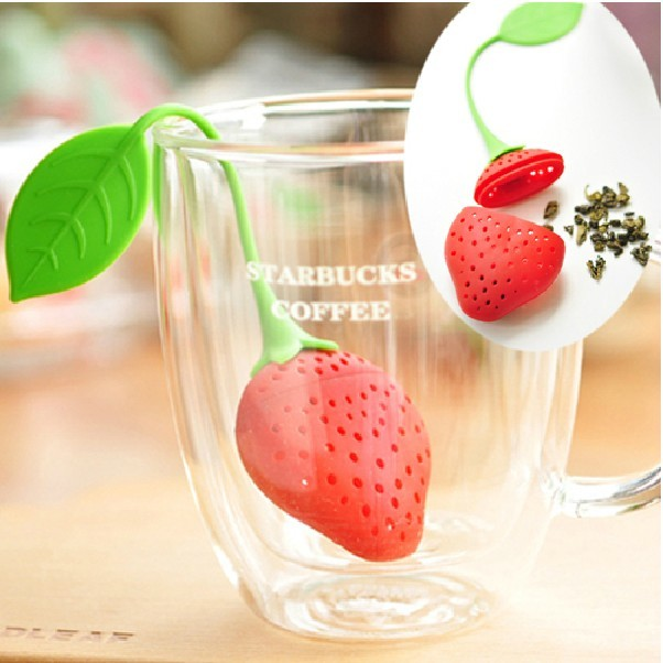 1 RED color Strawberry shape silicon tea infusers strainer filler tea ball bag dipper food grade household supplier free ship