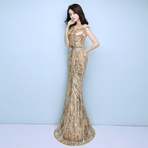 Image 4 - FADISTEE New arrival elegant party dress evening dresses prom bling sequins mermaid gold sashes long short sleeves simple style