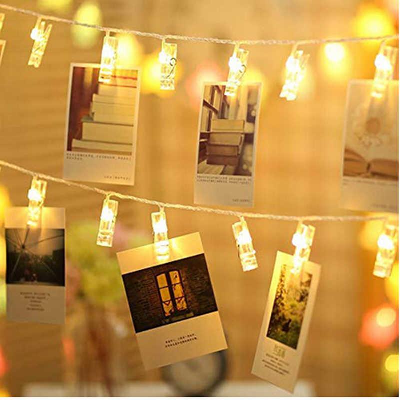 1 м/2 м/5 м/фото клип светодиодный гирлянда Рождественские фонари Открытый батарея работает гирлянда, рождественские украшения для вечеринки свадьбы Рождества