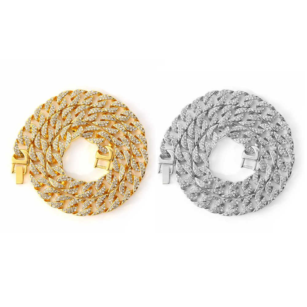 Iced Out Bling 13mm Rhinestone kryształ złoty srebrny kubański Link choker łańcuszek projekt dla kobiet mężczyzn Hip hop naszyjnik Punk naszyjniki