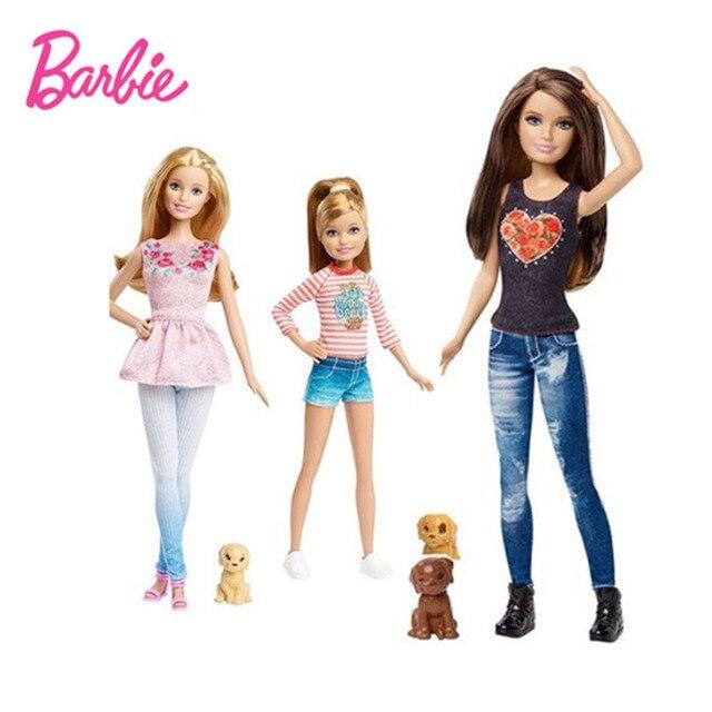 Barbie hermanas con el perrito moda Combo moda chica Muñecas con ...