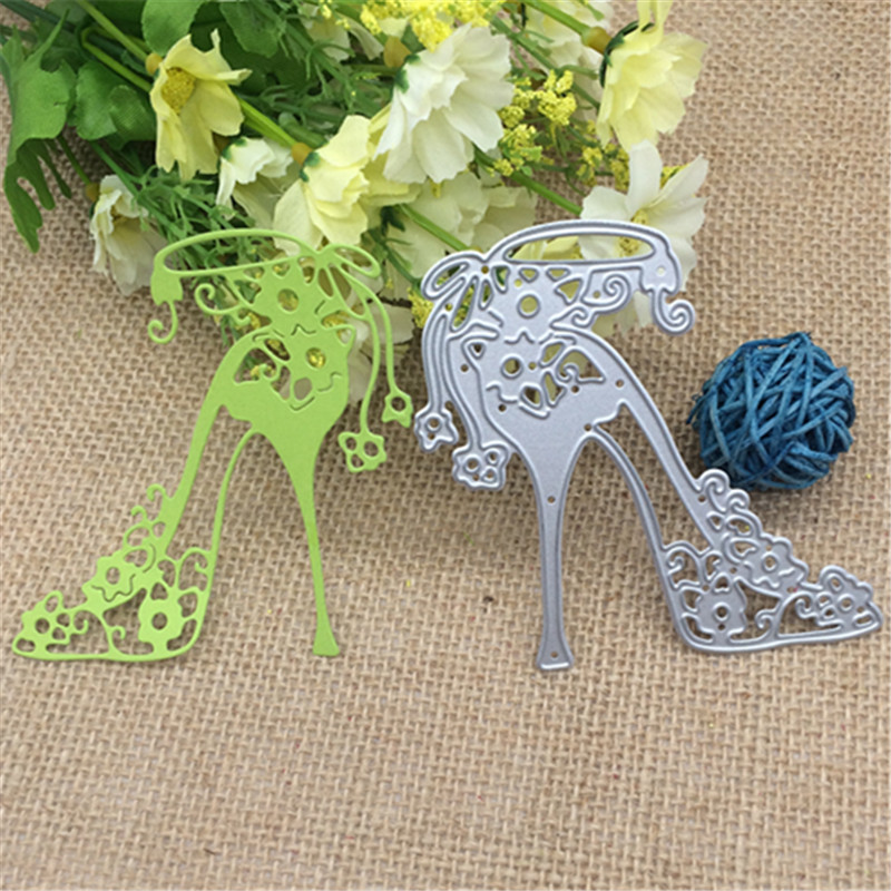 Template High-heeled Shoe With Flowers Metal Cutting Dies Stencil Scrapbooking Photo Album Card Paper Embossing Craft DIY