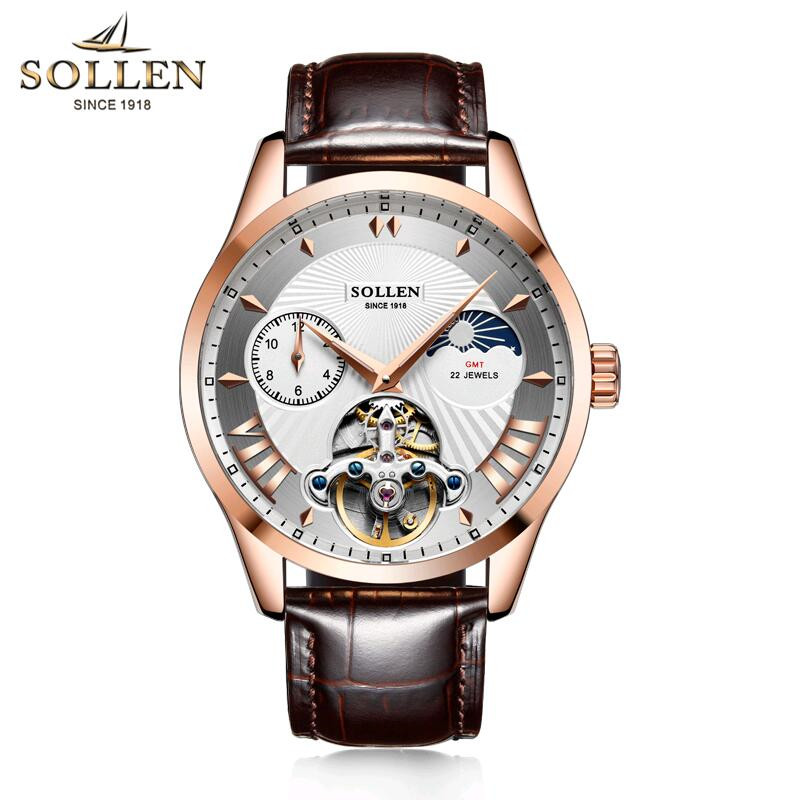 SOLLEN Luxury Brand Self Wind Silver Relogio Black Leather Band Analog Male Casual Clock Wrist Men Automatic Mechanical Watch