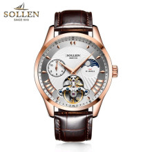 цена на SOLLEN Luxury Brand Self Wind Silver Relogio Black Leather Band Analog Male Casual Clock Wrist Men Automatic Mechanical Watch