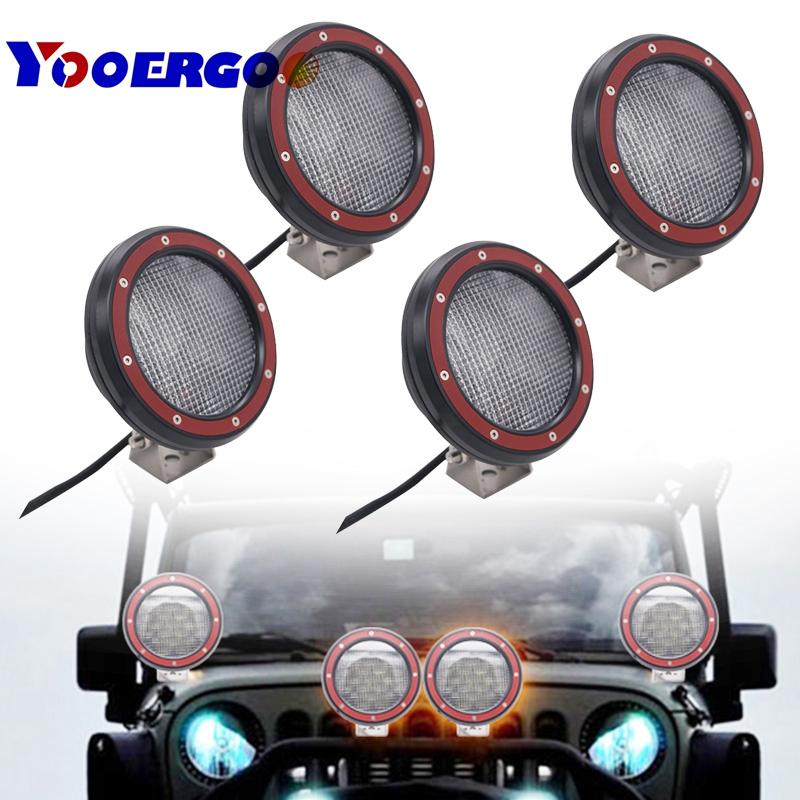 4pcs 51w 5 Spot LED Light Work Light Off Road Driving Fog Lights For Jeep Wrangler , Off-road, Truck, Car, ATV, SUV 1pcs free shipping spot beam 16w 4pcs 4w high intensity cree leds led work light for off road use fog light page 5