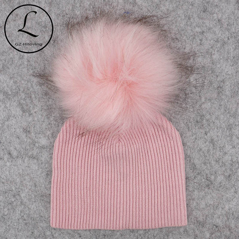 82b286a4492 GZHilovingL Soft Winter Newborn Baby Boys Girls Faux Fur pompom Hats Caps  2018 Kids Childs Girls Wool Knitted Skullies Beanies