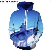 PLstar Cosmos 2017 New Space Galaxy Wolf 3d Hoodies Men Women Pullovers Animal Print Hooded Sweatshirt