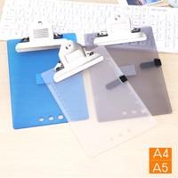 2 stks/partij plastic clip board clip file A4/A5 map plaat pad metalen bill clip report cover wervelkolom bar kantoorbenodigdheden levert