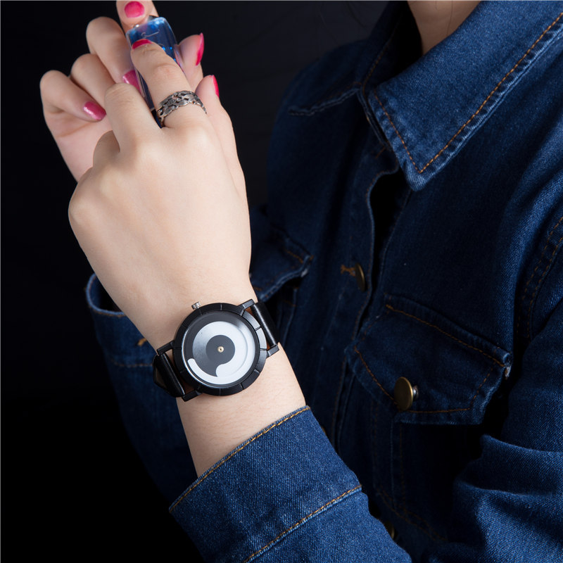 Creative No Pointer Couple Watch Simple Men Watches Women Wrist Watch Minimalist Leather Clock Relogio Masculino Erkek Kol Saati