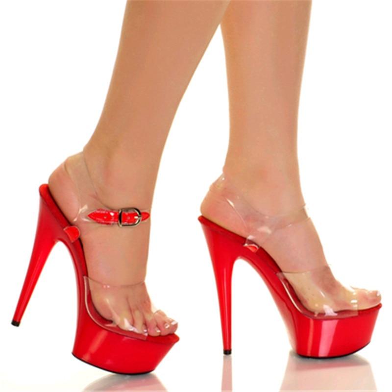 Women's Sexy Clear Wedge High Heels Platform Open Toe Transparent Sandals Rfew