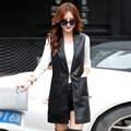 2016 женщин средней длины костюм воротник жилет верхняя одежда плюс размер рукавов тонкий кожаная куртка 6606