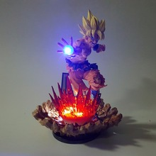 Super Saiyan Goku Dragon Ball Z Figures Kamehameha Power Up Led Light Up  (15 CM)