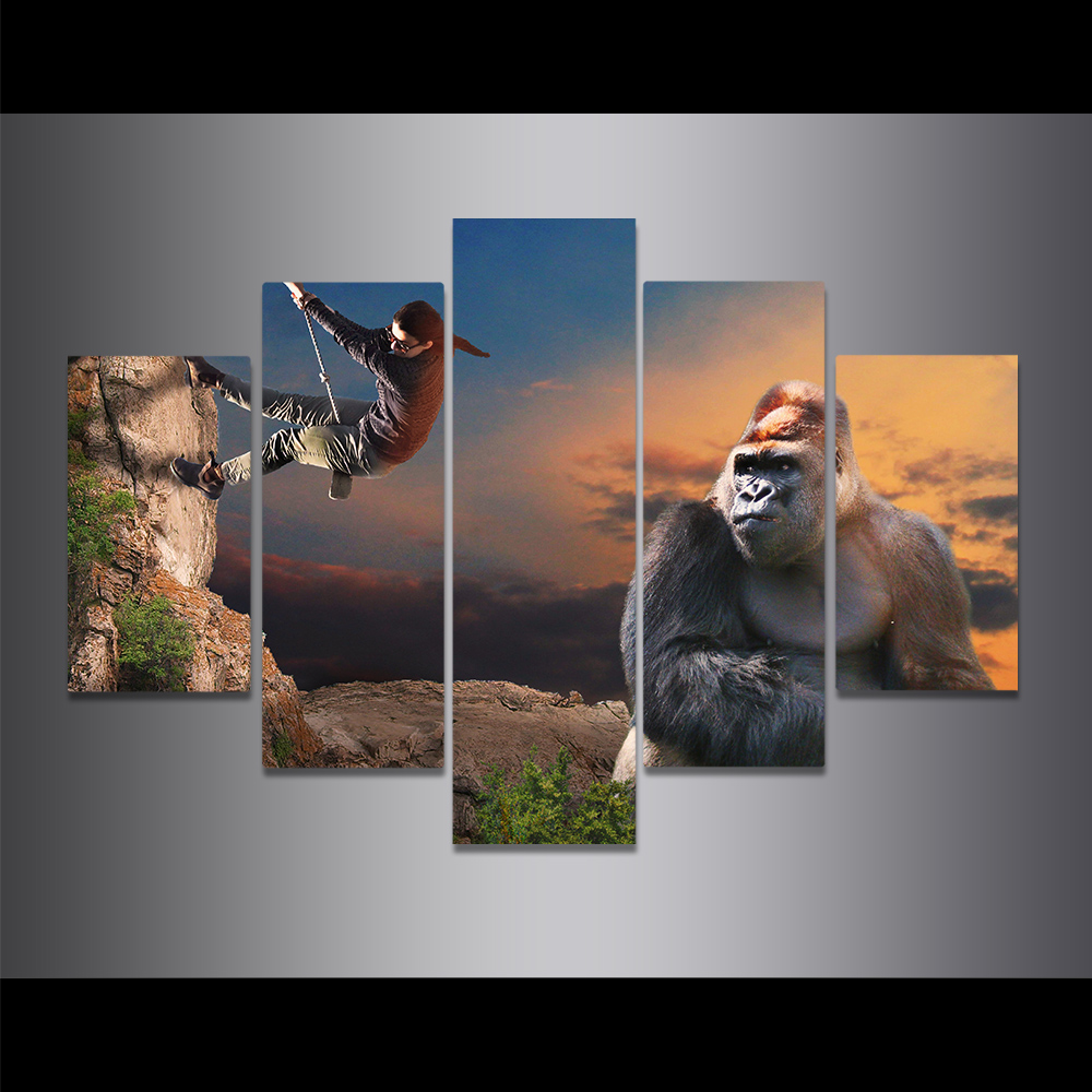 Unframed Canvas Painting Kong Kim Beauty Rock Climbing Picture Prints Wall Picture For Living Room Wall Art Decoration