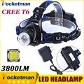 T6 Xm-L Led Headlamp 3800Lm Headlight Flashlight Head Torch Linterna Cree Xml T6 With 18650 Battery/Ac Charger Fishing Light