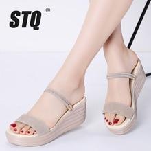 STQ 2020 Women Sandals Leather Suede Wedges Thick Heel Flat Sandals Gladiator Sandals Ladies High Platform Sandals For Women 555