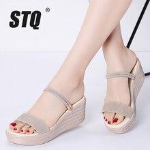 STQ Sandalias de piel de ante para mujer, cuñas de tacón grueso, Sandalias planas tipo Gladiador, sandalias altas de plataforma, 2020