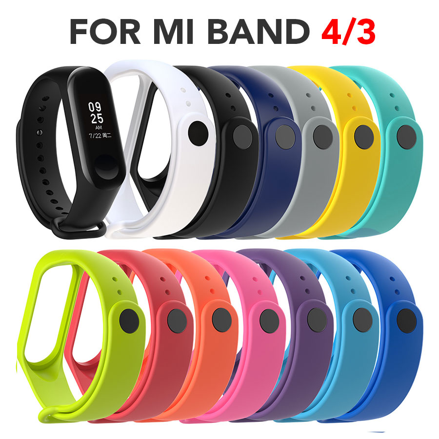 13pcs/Lot Colorful Silicone Wrist Band For Xiaomi 4/3 TPU Watch Straps For Mi Band 3 / 4 Smartwatch Bracelet Belt