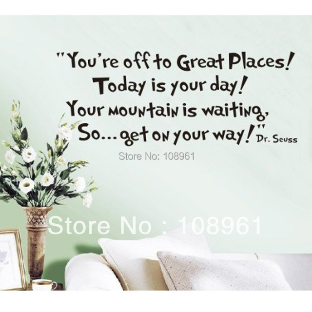 Youu0027re Off To Great Places Dr Seuss Wall Sticker Decals Home Decor Art Vinyl