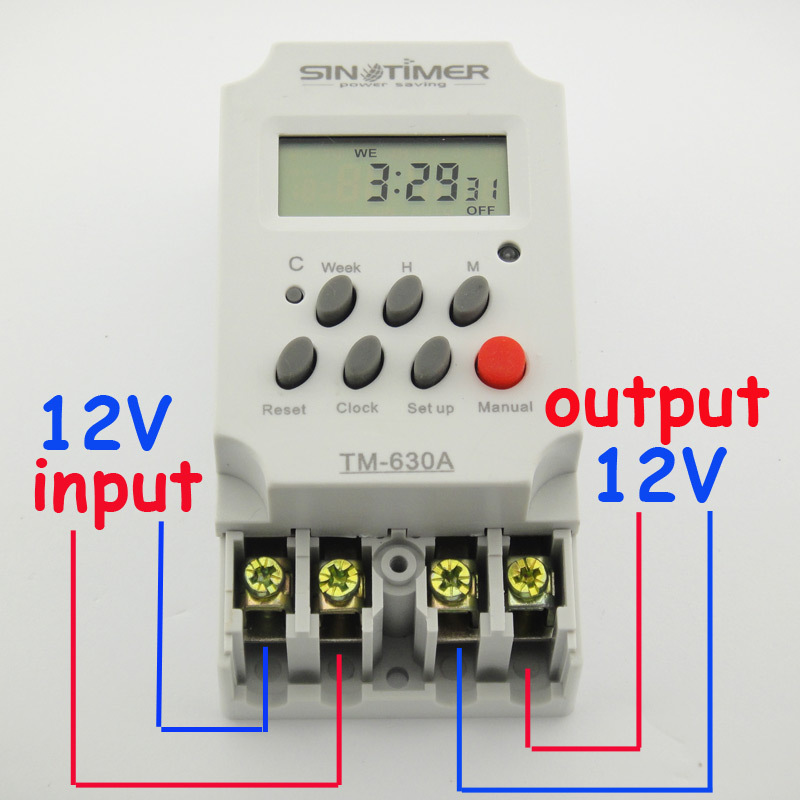 30AMP 12V DC AC MINI TIMER SWITCH 7 Days Programmable 24hrs Time Relay FREE SHIPPING 12v dc input 7 days programmable 24hrs mini timer switch time relay output load high power 30a
