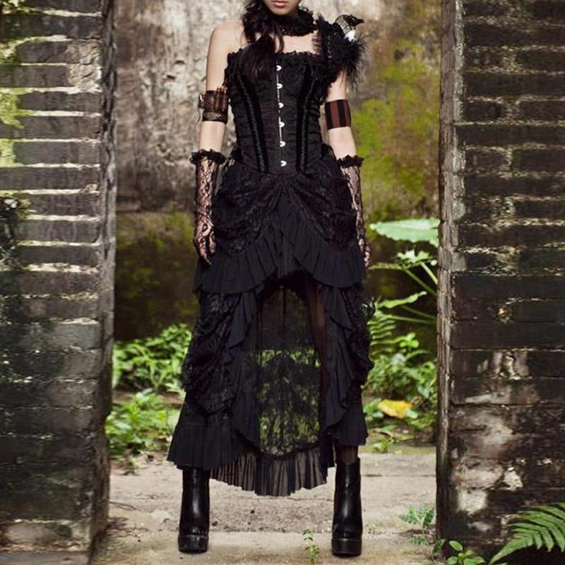 Steampunk Skirt Plus Size 3xl 4xl 5xl Womens Elegant Victorian Lolita Party High Waist Skirts Black Lace Long Punk Gothic Skirt