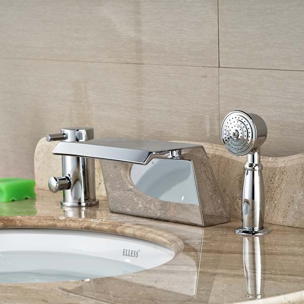Waterfall Bathroom Tub Faucet W/ Hand Sprayer Deck Mounted Chrome Brass waterfall spout single lever bathroom tub faucet with hand sprayer deck mounted chrome brass